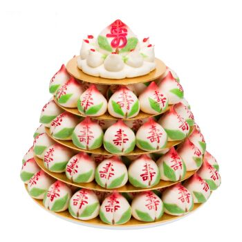 寿盈门 寿桃生日蛋糕送礼传统过寿祝寿寿包白日宴寿桃