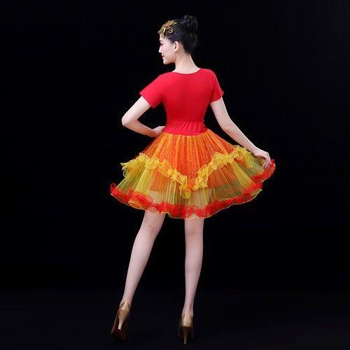 现代舞蹈服装新款演出服开场舞台蓬蓬裙成人表演服短裙广场舞女夏