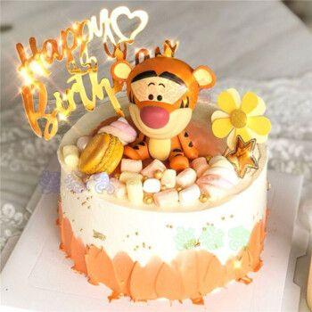创意维尼小熊生日蛋糕同城皮杰猪跳跳虎蛋糕儿童卡通周岁全国上海