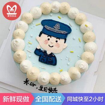 网红手绘军人生日蛋糕全国同城配送兵哥哥军人水果蛋糕预定 q款 8