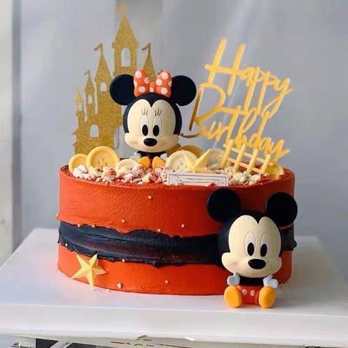 儿童蛋糕摆件网红生日米奇米老鼠蛋糕摆件米奇米妮甜品台情景装饰