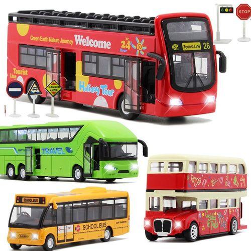 大号加长合金大巴玩具城市双节公交车有轨电车双层巴士客车长途.