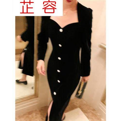 黑色丝绒法式v领连衣裙女神气质修身礼服2021新款好细腻女学生闺蜜装