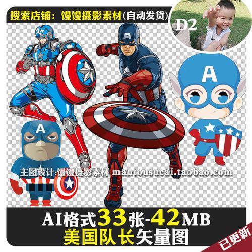 美国队长卡通q版英雄人物logo标志免抠图ai格式矢量图片ps素材