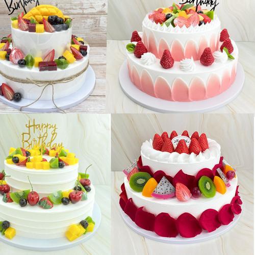 新款两层双层10寸流行森系欧式水果蛋糕模型仿真定制