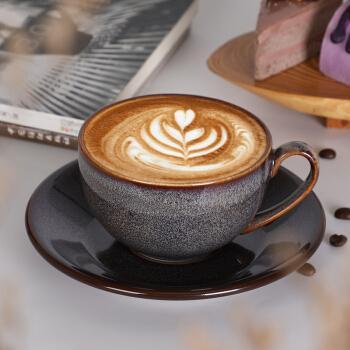 沸福 欧式釉变星空陶瓷咖啡杯卡布奇诺拿铁花式咖啡拉花杯碟套装250