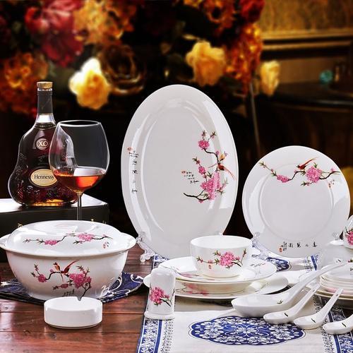 56头景德镇骨瓷餐具套装碗盘碟中式餐具瓷器陶瓷 碗