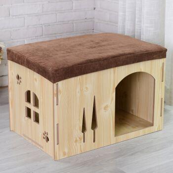 换鞋凳木质猫狗窝可拆洗四季款木制猫屋狗屋房子泰迪博美蝴蝶小型犬英