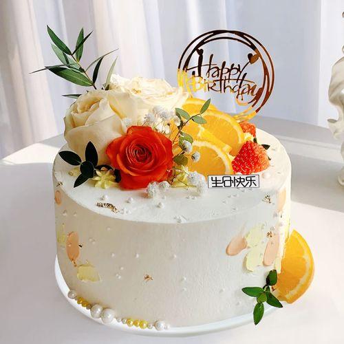 仿真生日蛋糕模型2021网红新款鲜花花卉创意流行假