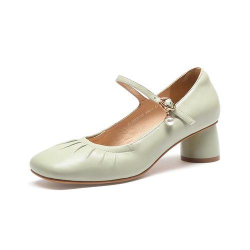 骆驼女鞋【羊皮】2021夏季新款复古高跟鞋女玛丽珍鞋