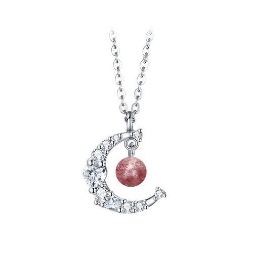 潮流时尚气质简约设计 幻彩月光项链银
