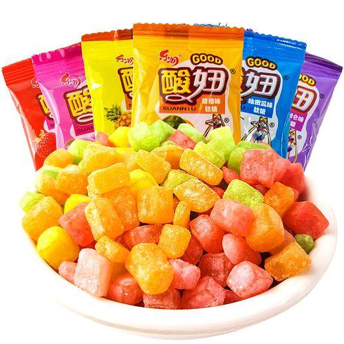 乐潮酸妞水果果汁软糖葡萄草莓味qq橡皮糖果儿童网红休闲零食小吃