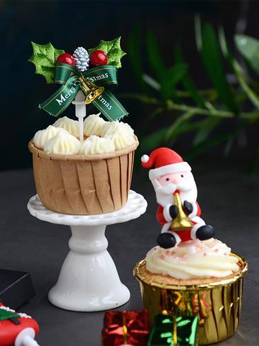 圣诞节蛋糕摆件麋鹿雪人圣诞树软陶玩偶派对甜品桌