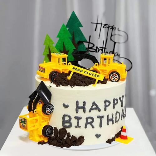 蛋糕模型仿真2021新款卡通儿童挖掘机网红生日假蛋糕