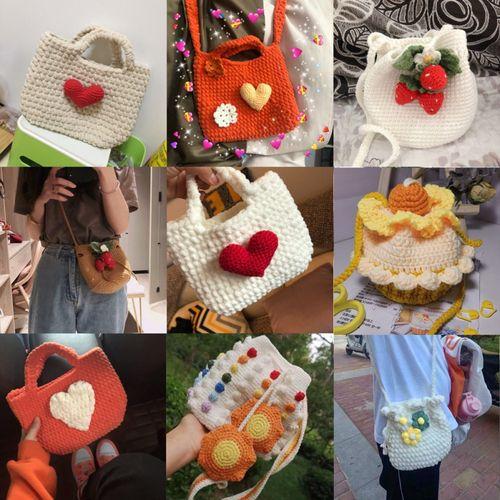 手工编织包包爱心毛线包包材料包女手工编织水桶包diy材料包可爱简约