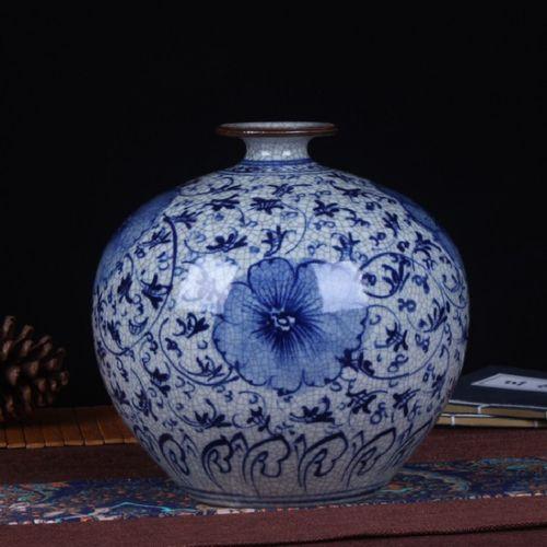 景德镇陶瓷工艺品 手绘青花仿古石榴花瓶陶瓷花瓶装饰