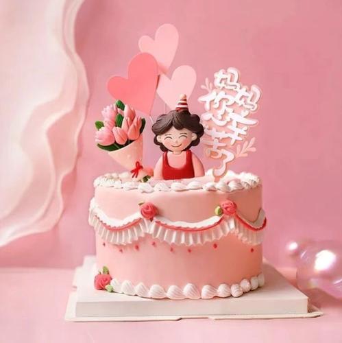 母亲节蛋糕插牌插旗装扮软陶围裙妈妈围裙妈妈花束烘焙创意网红