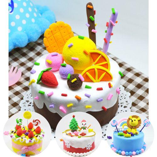 工制作蛋糕材料包玩具圣诞节雪人套装礼物儿童diy创意彩泥粘土