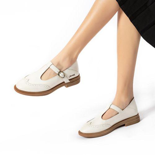 玛丽珍鞋女2021春季新款日系复古单鞋女布洛克雕花真皮小皮鞋女