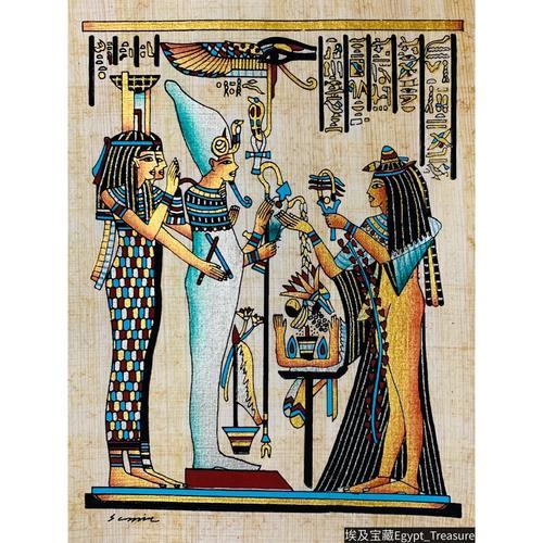 现货 埃及手绘纸莎草画 古埃及壁画 神之欧西里斯