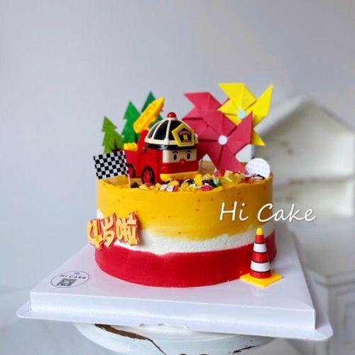 小男孩朋友儿童款生日蛋糕装饰合金款消防车蛋糕摆件