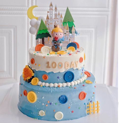 网红新款双层城堡小王子仿真蛋糕  国王王后祝寿模型