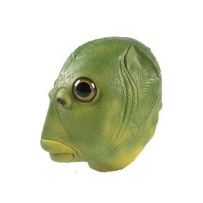 动物加厚恶搞鱼头头套绿鱼人头面具外星人圣诞节猩猩