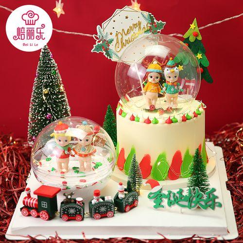 圣诞天使宝宝摆件麋鹿角红白帽子娃娃圣诞蛋糕公仔