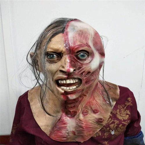 万圣节恐怖鬼面具鬼屋密室逃脱长发女鬼丧尸僵尸恶心吓人鬼脸头套 半
