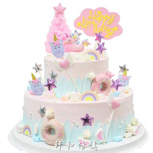 双层仿真蛋糕模型卡通网红独角兽圣诞树星星棉花糖艺术摄影假蛋糕