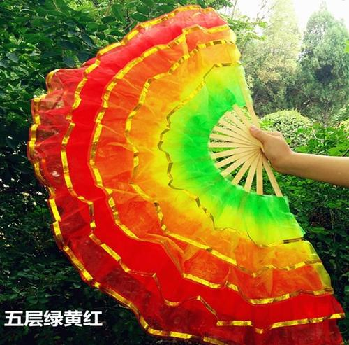 秧歌舞玫渐变中大号层道具扇层5表演5水晶国风扇扇大型秧歌红水.