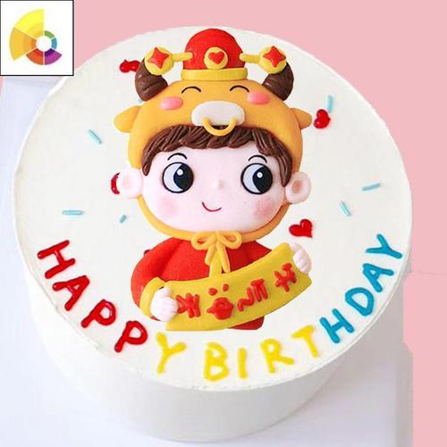 新年喜庆贺岁生肖牛男女孩儿童立体甜品烘焙生日蛋糕