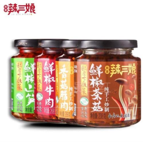 新新货贵三红辣三娘山笋牛肉香菇腊肉茶菇私房下饭菜辣椒酱4瓶装