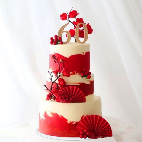 2020仿真生日蛋糕模型三层多层祝寿庆生贺寿60大寿假