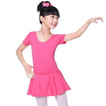 儿童舞蹈服装幼儿练功服女童演出跳舞服纯棉短袖连体服舞蹈裙夏季 02