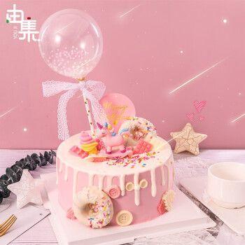 由集 生日蛋糕 同城配送 预定儿童周岁送女孩女生独角兽网红创意水果