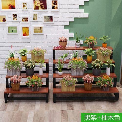 庭院落地式多层室内展台花架爬藤花架子钢木室内阳台功能钢铁架