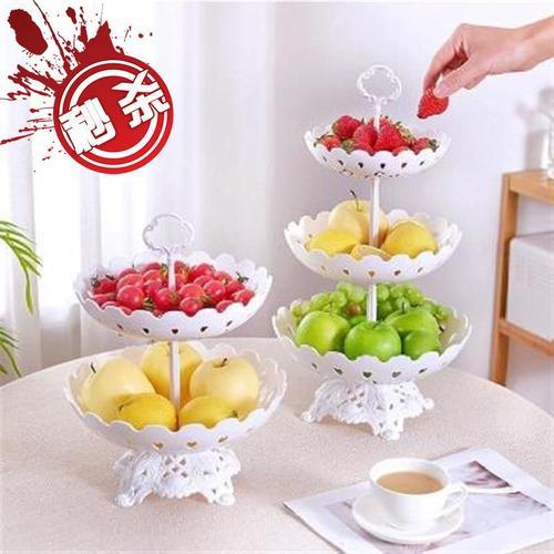 欧式塑料蛋糕盘玻璃罩高脚托盘甜品架双层点心盘三层