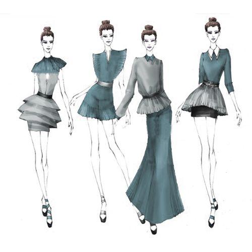 服装设计效果图代画 ps时装款式图 ai款式图成衣服装